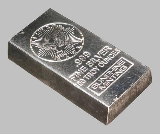 Слиток чистого серебра 999-й пробы