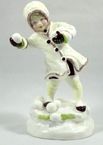 Статуэтка «Игра в снежки». Royal Worcester. 1965-1975 гг.